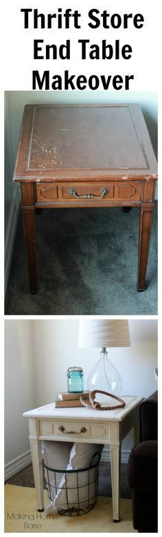 Thrift Store End Table Makeover...this is making me want to go thrifting! #thriftstorefurniture