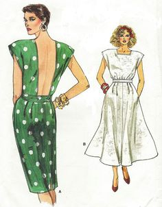 80s Vogue Sewing Pattern 9605 Womens Backless by CloesCloset