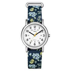 Timex Weekender Slip Thru Floral Nylon Strap Watch - Blue T2P370JT, Women's