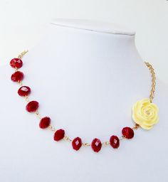 Red Faceted Crystallized Yellow Resin Rose Flower by BijiBijoux, https://www.etsy.com/listing/76558320/red-faceted-crystallized-yellow-resin