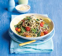 Pesto and mushroom spaghetti. We've snuck a few extra veggies into this pesto pasta recipe to increase the nutritional benefits and make it even more filling.
