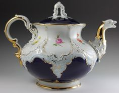 Meissen Porcelain Gold Cobalt Blue Tea Pot Hand Painted Flowers | eBay$400.00