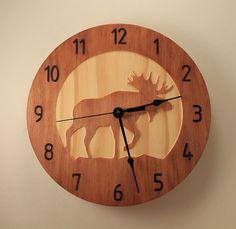 Moose clock Deer clock Wood clock Nature by BunBunWoodworking