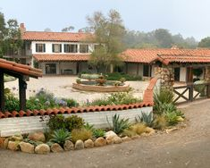 Adobe Courtyard - mediterranean - exterior - santa barbara - Tom Meaney Architect, AIA