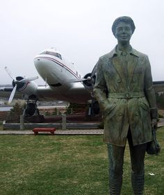 This statue commemorates Amelia Earhart 1932 flight from Harbour Grace, Newfoundland to Northern Ireland in 1932 made her the first woman to fly solo across the Atlantic. Newfoundland Canada, Amelia Earhart, Northern Ireland, The Rock, Joseph, Statue, Woman, Places, Dogs