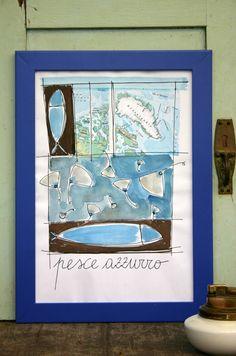 """Stampa della mia illustrazione originale """" Pesce Azzurro """" di SaraPierottiArtPrint su Etsy"""