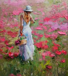 Lady walking in pink flower field impressionism palette knife oil painting.