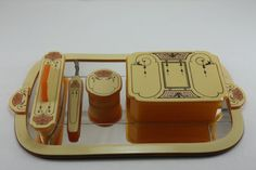 Antique Art Deco Celluloid Dresser Vanity Set