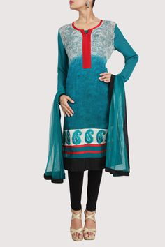 Ombre toned blue anarkali with all over prints & embroidery detailing on neckline & hem border. Shop Now: www.karmik.in/shopping/index.php
