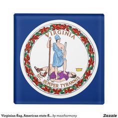 Virginian flag, American state flag Glass Coaster