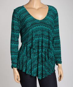 Look what I found on #zulily! Emerald Geometric Tiered V-Neck Top - Plus #zulilyfinds
