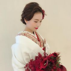 Traditional Wedding Attire, Traditional Fashion, Marriage Day, Wedding Bouquets, Wedding Dresses, Wedding Hairstyles, Wedding Photos, Kimono, Girly