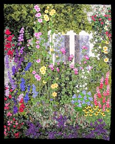 Sue Garman: The Quilts and Houston - and more.  In British Garden, quiltmaker Anna Maria Schipper Vermeiren of Haaften, The Netherlands. Landscape Art Quilts, Flower Landscape, British Garden, Quilting Designs, Art Quilting, Baby Quilts, Watercolor Quilt, Hexagon Quilt, Flower Quilts