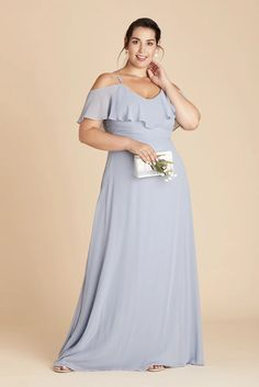 Jane Plus Size Convertible Chiffon Bridesmaid Dress in Dusty Blue – Birdy Grey Royal Blue Bridesmaid Dresses, Affordable Bridesmaid Dresses, Bridesmaid Dresses Plus Size, Blue Dresses, Convertible Dress, Floor Length Gown, Cold Shoulder Dress, Chiffon, Gowns
