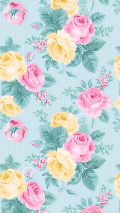 Retro - modern , Aqua Floral wallpaper / iPhone