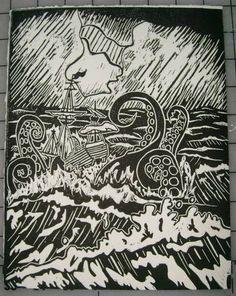 kraken nautical block print