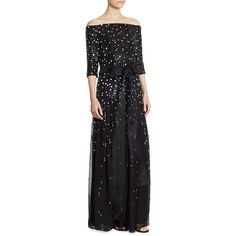 Carolina Herrera Embellished Silk Gown ($8,990) ❤ liked on Polyvore featuring dresses, gowns, off the shoulder gown, off the shoulder evening dress, off shoulder gowns, sequin evening dresses and sequin evening gowns