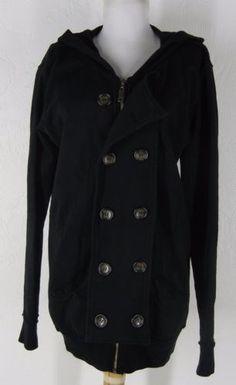 24.99$  Watch here - http://vinfj.justgood.pw/vig/item.php?t=r9fvc318167 - RAILS Women's Double Button Utility Jacket M Black Knit Hoodie Hooded Long 24.99$
