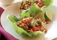 Asian Chicken Salad in Lettuce Cups with Peanut Sauce