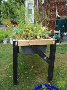 Self-Watering Veggie Table : 15 Steps (with Pictures) - Instructables Watering Raised Garden Beds, Diy Self Watering Planter, Elevated Garden Beds, Raised Garden Planters, Self Watering Containers, Raised Garden Bed Plans, Succulent Planters, Succulents Garden, Raised Beds