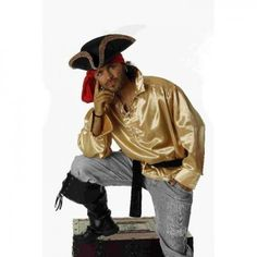 Piratenhemd gold Piraten Hemd für Piratenkostüm Pirat