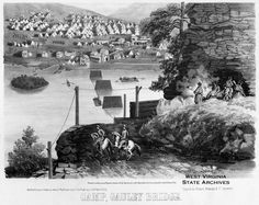 "West Virginia - ""Camp Gauley Bridge"" a sketch by J. Nep. Roesler. from the West Virginia Archives. This is of course, during the Civil War."