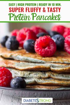 Easy Protein Pancakes - - These Easy Protein Pancakes are super fluffy, packed with protein, and ready in under 10 minutes! And thanks to the blended blueberries in the batter, they're as pretty as they are delicious. Protein Muffins, Protein Snacks, Healthy Protein Pancakes, Protein Powder Pancakes, Protein Cake, Protein Powder Recipes, Protein Recipes, High Protein, Diabetic Breakfast Recipes