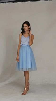 The dress is a glamorous spaghetti straps a-line tulle dress. #bridesmaiddresses #shortdress Inexpensive Bridesmaid Dresses, Simple Homecoming Dresses, Knee Length Bridesmaid Dresses, Bridesmaids, Spaghetti Strap Dresses, Spaghetti Straps, Bridesmaid Inspiration, Satin Top, Tulle Dress