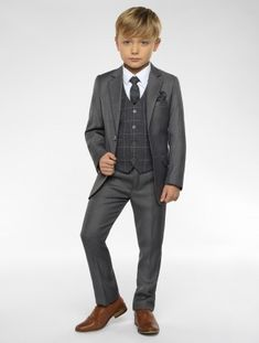 Wedding Suits Shop for boys grey suit with checked waistcoat Sampson at Roco. Perfect as a page boys outfit with free UK delivery Kids Wedding Suits, Wedding Outfit For Boys, Wedding With Kids, Wedding Dress, Kids Suits, Page Boy, Suit And Tie, Kind Mode, Baby Boy Outfits