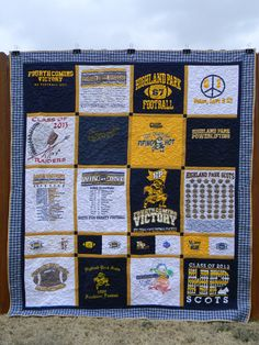 T-shirt quilt - entire quilt is free motion quilted