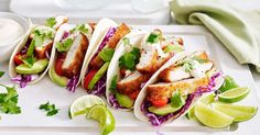 Create a delicious Mexican fiesta with these 17-minute chicken tacos served with lime aioli and fresh coriander.