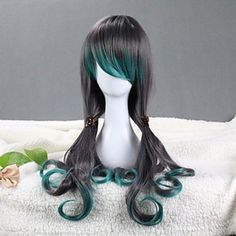 Peafowl Style Cosplay Wig|Gray and Green Gradient Cosplay Wig |Gothic Lolita Cosplay Wig|Peafowl Style Gray and Green Gradient 75-80 cm Gothic Lolita Cosplay Wig