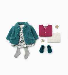Zara Baby Knit Coat, Butterfly & Floral Dress and knit legging