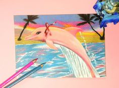 Pink Dolphin - original aesthetic drawing