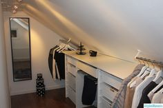 Walk in closet low ceiling Attic Bedroom Closets, Attic Bedroom Designs, Attic Closet, Bedroom Closet Design, Upstairs Bedroom, Closet Designs, Closet Bedroom, Master Bedroom, Walk In Closet Small