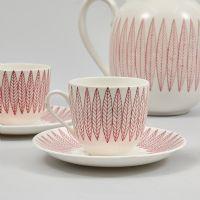Kaffekoppar, + kanna, 5 delar, Stig Lindberg (1916-1982), Salix, Gustavsberg. Metropol - Auktioner i Stockholm och på nätauktion med konst och inredning - 2086