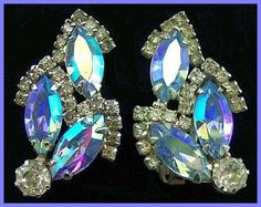 Vintage SIGNED WEISS Earrings Clip On Style Big Blue Clear Rhinestones & Silver Metal