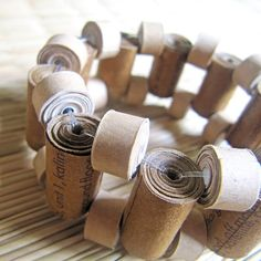 Paper jewelry - Recycled Paper Bead Bracelet - Harvest, Autumn, Fall - Rustic Brown, Beige, Pastel, Earthy    Made by Devi Chand from India; on etsy