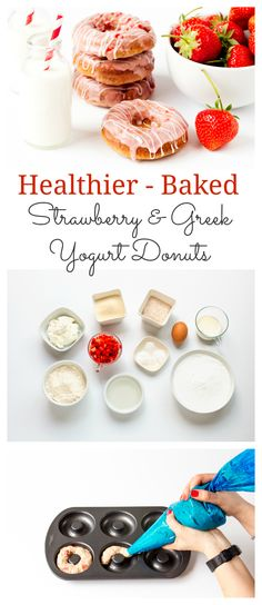 Healthier Baked Strawberry & Greek Yogurt Donuts