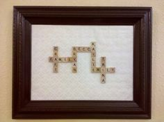 Recycled picture frame, brown spray paint, wrapping paper from Target, and double sided tape. Diy Arts And Crafts, Cute Crafts, Easy Crafts, Scrabble Tile Art, Handmade Decorations, Diy On A Budget, Creative Gifts, Diy Gifts, Craft Projects