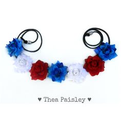 Flower crown red white and blue halo: captain america/... (€15) ❤ liked on Polyvore featuring accessories, hair accessories, hair, headwear, jewelry, hippie headbands, headband hair accessories, flower crown, red hair accessories and red headband