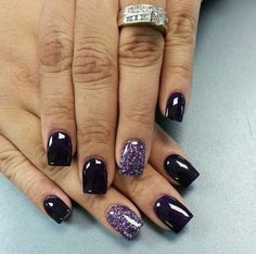 Purple and black, pink and black, silver or gold all accent colors go well with a black set! #nails, fall nail colors gel polish nail design
