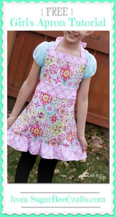 Girl's Apron Tutorial - this has a FREE pattern tutorial - so cute! ~ Sugar Bee Crafts