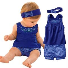 2017 Spring Fashion Style Newborn Baby Girl Clothing Set Infant Suit Baby Girl Clothes T-shirt+short +Headband 3pcs