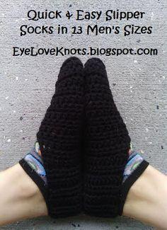EyeLoveKnots: Men's Quick and Easy Slipper Socks in 13 US Sizes - Free Crochet Pattern