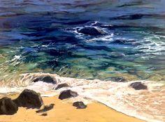 "For Sale: Emerald Sea by Arun Prem | $1,000 | 40""w 30""h | Original Art | https://www.vangoart.co/buy/art/emerald-sea @VangoArt"