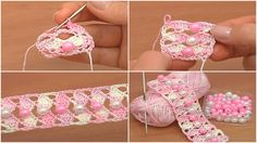 Сrochet Shell Stitch Tape with Beads - Tutorial