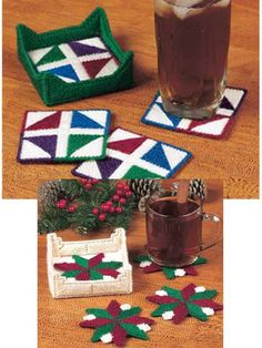 Free Quilt-Block Coaster Sets Plastic Canvas Pattern -- Download this free plastic canvas coaster pattern from FreePatterns.com.