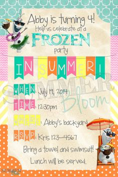 Frozen and Olaf In Summer themed Birthday Party Invitation from SummerBloom Olaf Summer Party, Frozen In Summer, Summer Party Themes, Party Ideas, Frozen Fever Party, Frozen Birthday Party, 4th Birthday Parties, Olaf Birthday, Summer Birthday