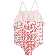 Made in a stretchy lycra for comfort, this one piece bathing suit has a graphic logo print in red and white. The pink frilled trim and crisscross straps in the back make this suit super adorable.  82% polyamide, 18% elastane (stretch lycra) Machine wash (30*C) Comes with a storage pouch Style name: Bucketi Small fitting brand